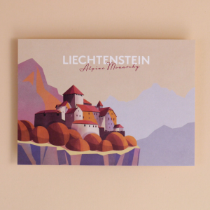 Postkarte Liechtenstein Schloss Vaduz - Illustration